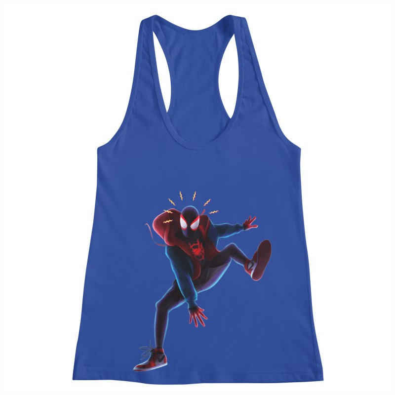 Miles into the Spider-Verse Women's Racerback Tank by Laurie's Artist Shop