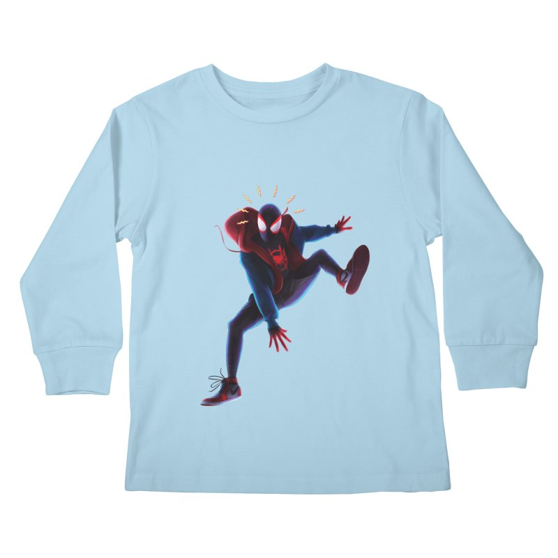 Miles into the Spider-Verse Kids Longsleeve T-Shirt by Laurie's Artist Shop