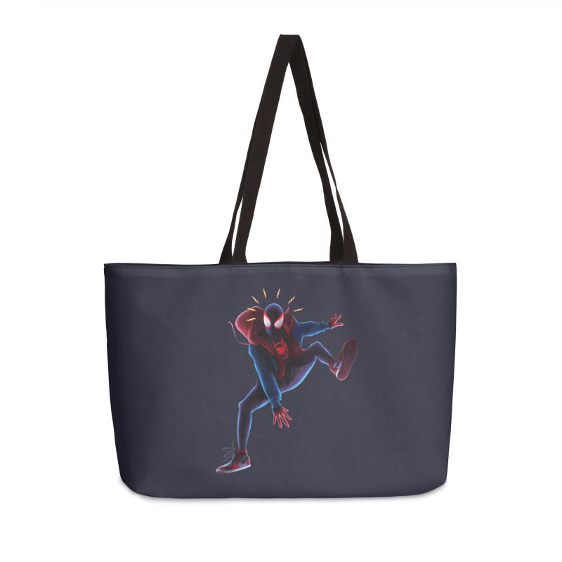 Miles into the Spider-Verse Accessories Weekender Bag Bag by Laurie's Artist Shop