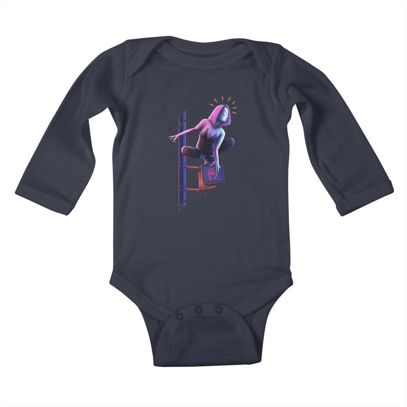 Gwen into the Spider-Verse Kids Baby Longsleeve Bodysuit by Laurie's Artist Shop
