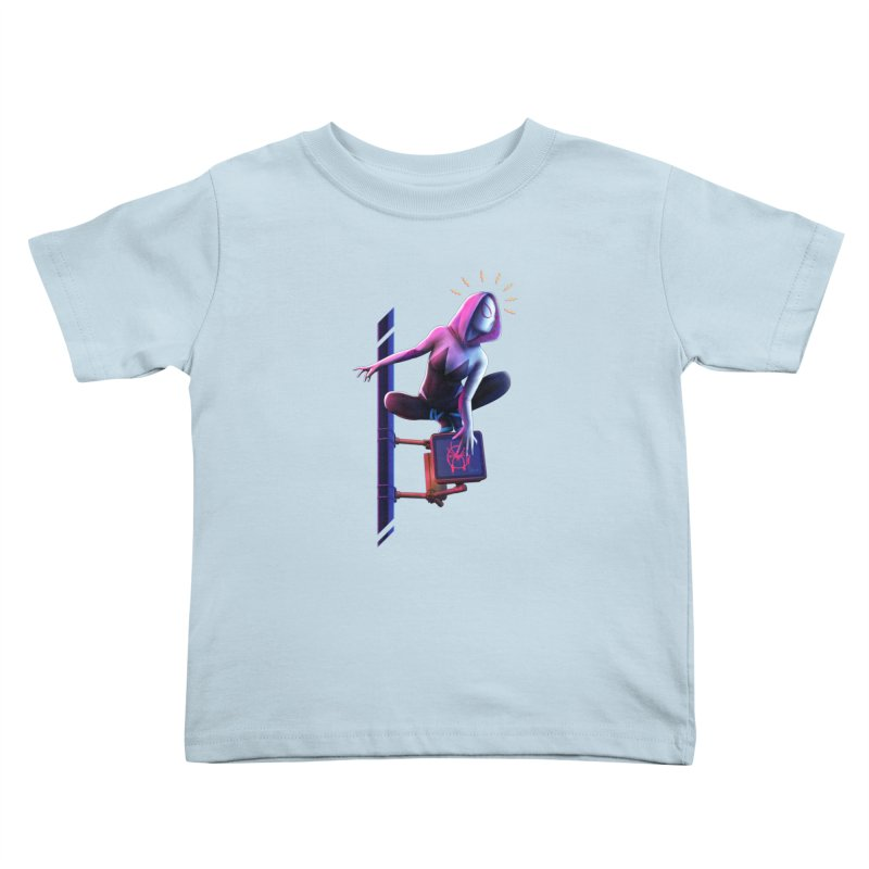 Gwen into the Spider-Verse Kids Toddler T-Shirt by Laurie's Artist Shop