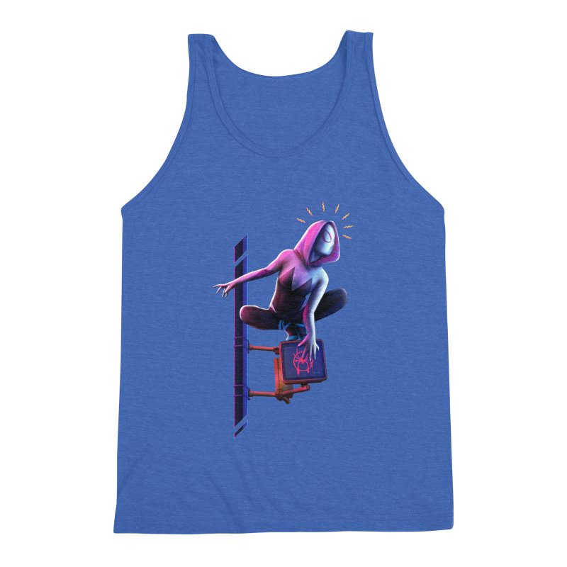 Gwen into the Spider-Verse Men's Triblend Tank by Laurie's Artist Shop