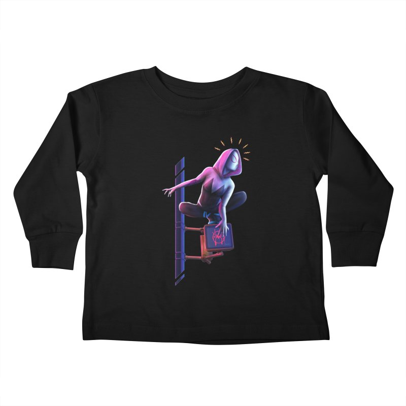 Gwen into the Spider-Verse Kids Toddler Longsleeve T-Shirt by Laurie's Artist Shop