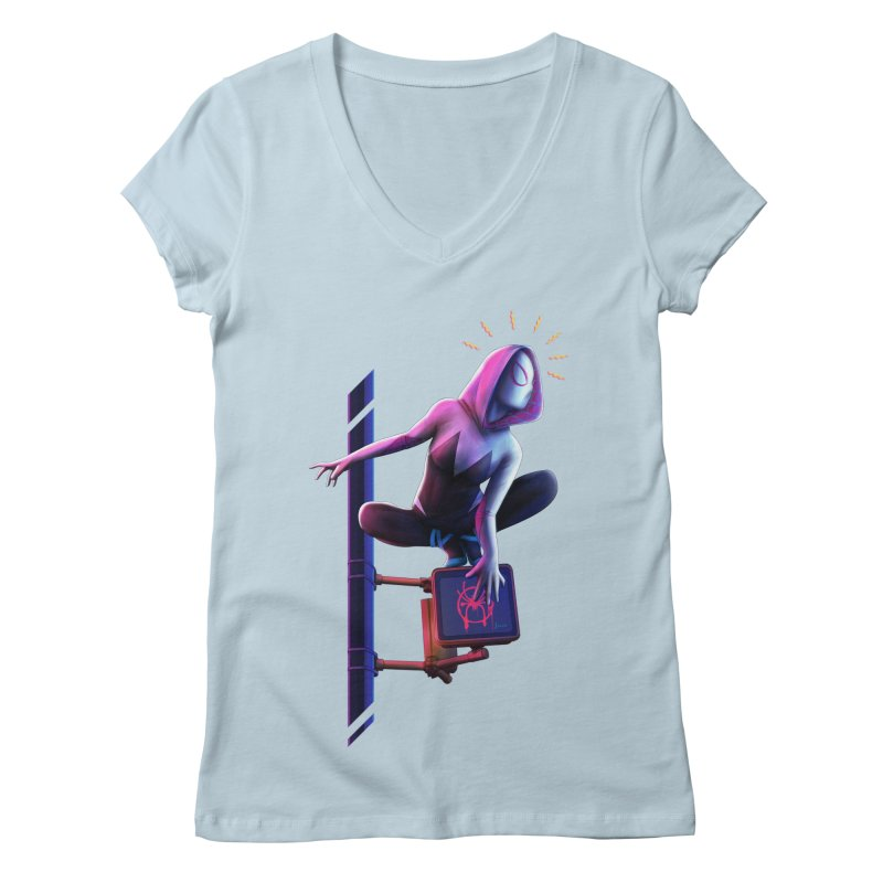 Gwen into the Spider-Verse Women's Regular V-Neck by Laurie's Artist Shop