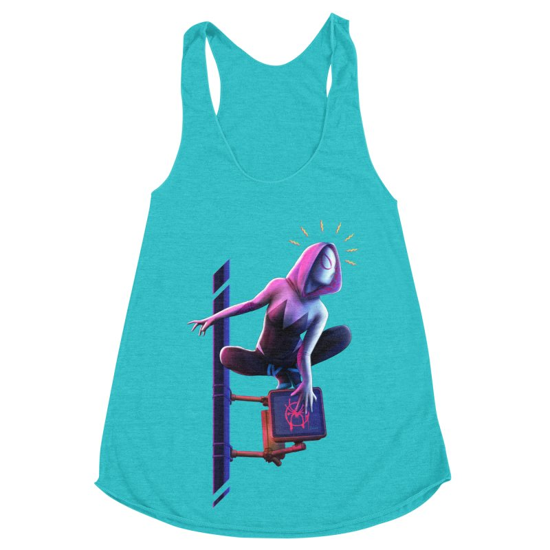 Gwen into the Spider-Verse Women's Racerback Triblend Tank by Laurie's Artist Shop