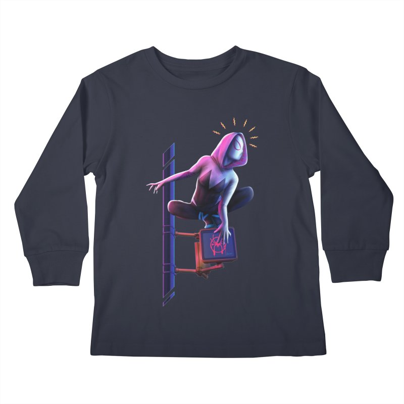 Gwen into the Spider-Verse Kids Longsleeve T-Shirt by Laurie's Artist Shop