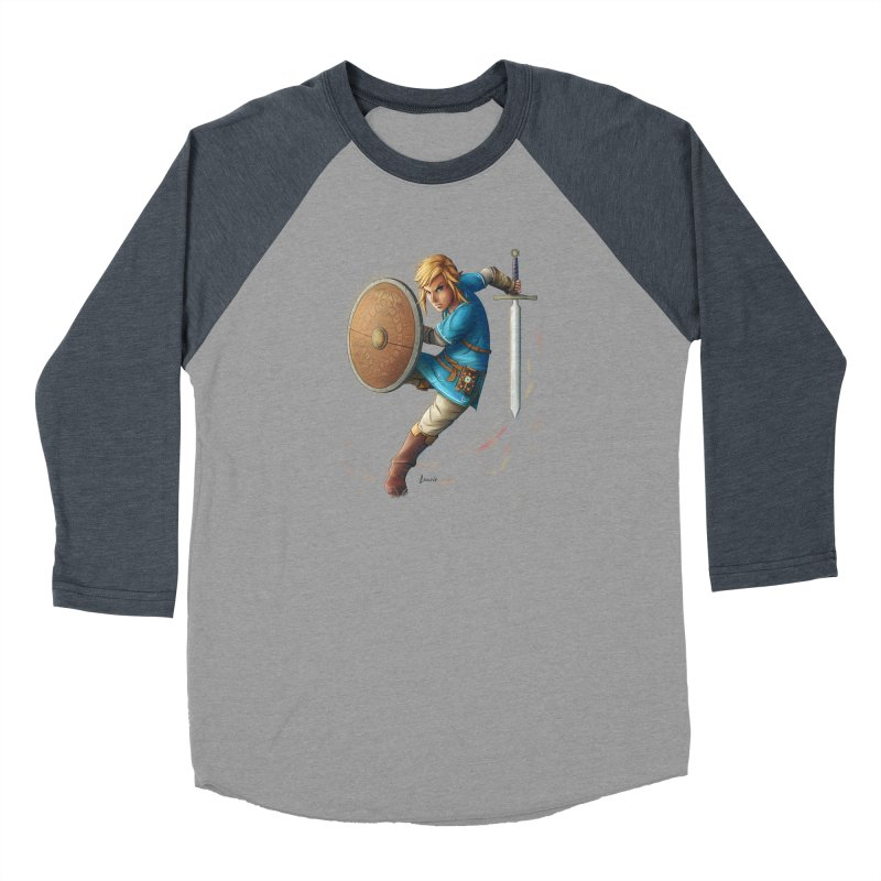 Link - Breath of the Wind Men's Baseball Triblend Longsleeve T-Shirt by Laurie's Artist Shop
