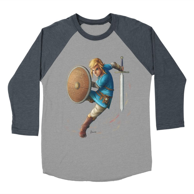 Link - Breath of the Wind Men's Baseball Triblend T-Shirt by Laurie's Artist Shop