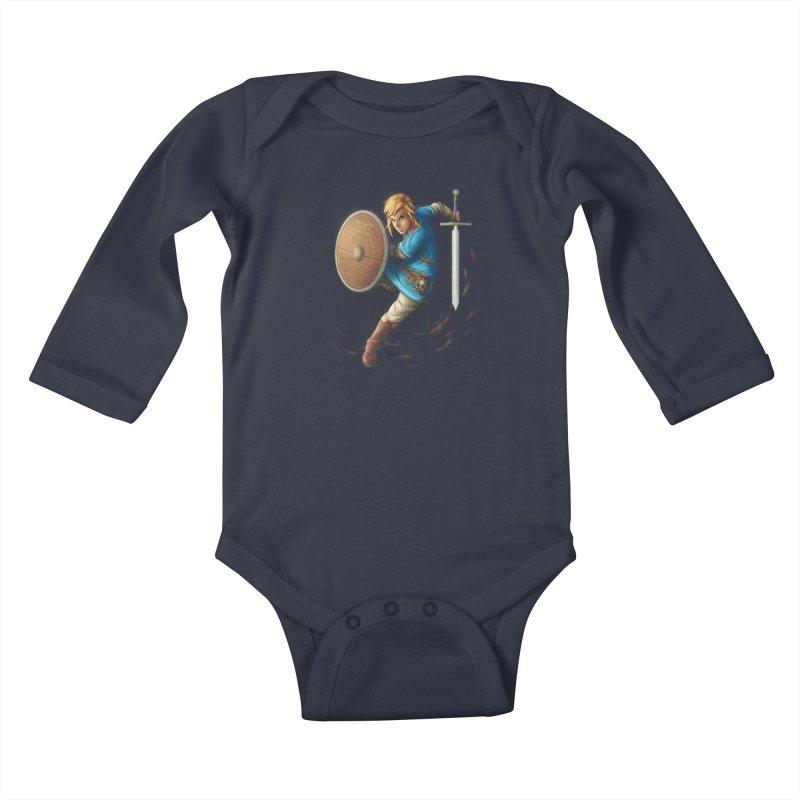 Link - Breath of the Wind Kids Baby Longsleeve Bodysuit by Laurie's Artist Shop