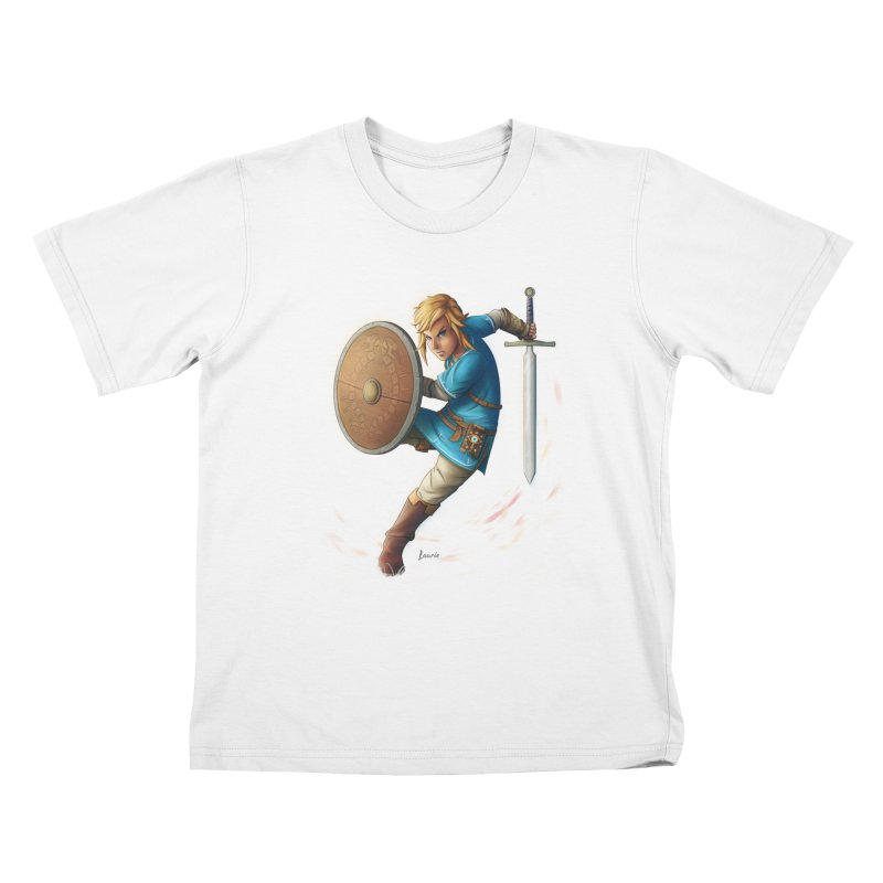 Link - Breath of the Wind Kids T-Shirt by Laurie's Artist Shop