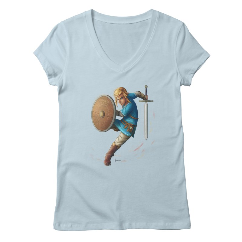 Link - Breath of the Wind Women's Regular V-Neck by Laurie's Artist Shop