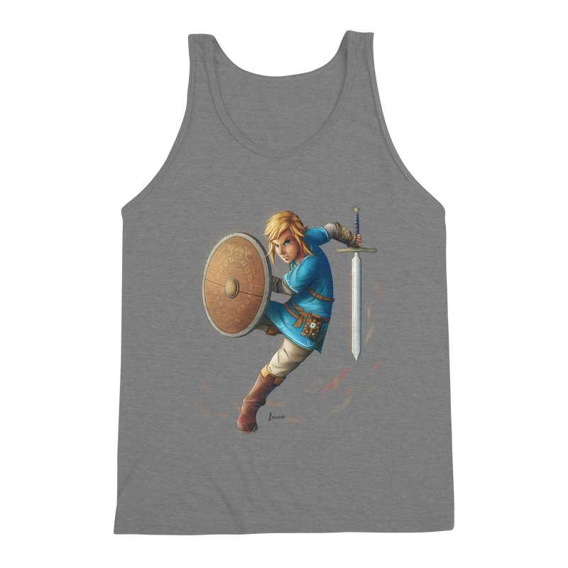 Link - Breath of the Wind Men's Triblend Tank by Laurie's Artist Shop
