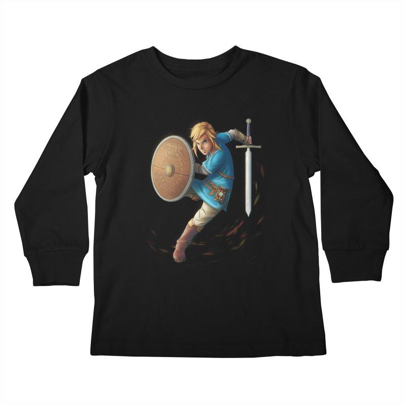 Link - Breath of the Wind Kids Longsleeve T-Shirt by Laurie's Artist Shop