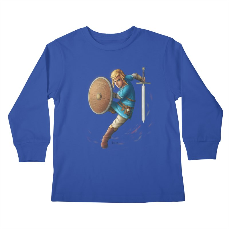 Link - Breath of the Wind Kids Longsleeve T-Shirt by Laurie's Artist Shop