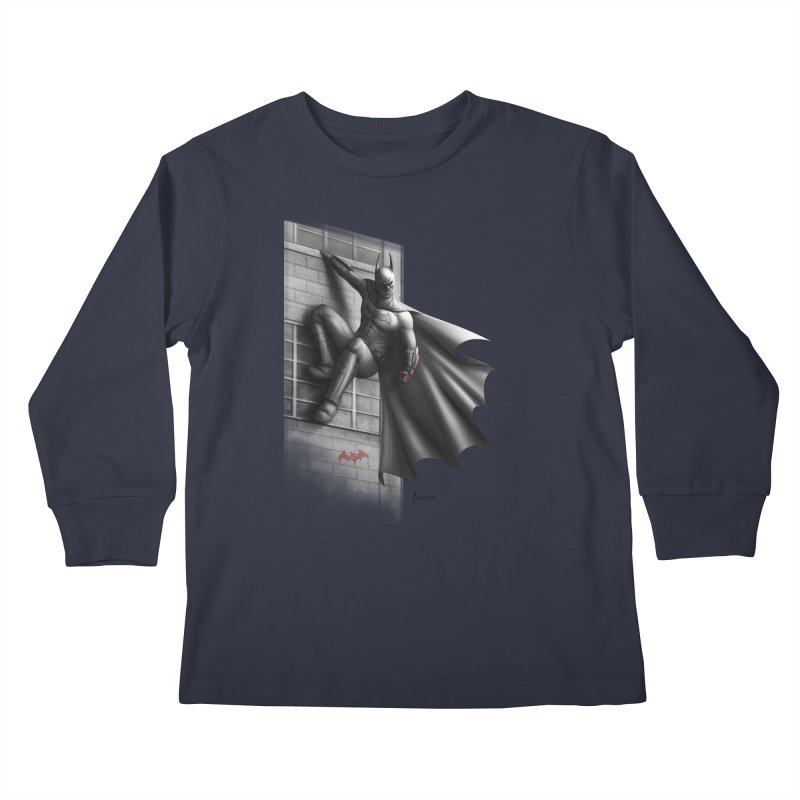 Batman - 50 Shades of Arkham Kids Longsleeve T-Shirt by Laurie's Artist Shop