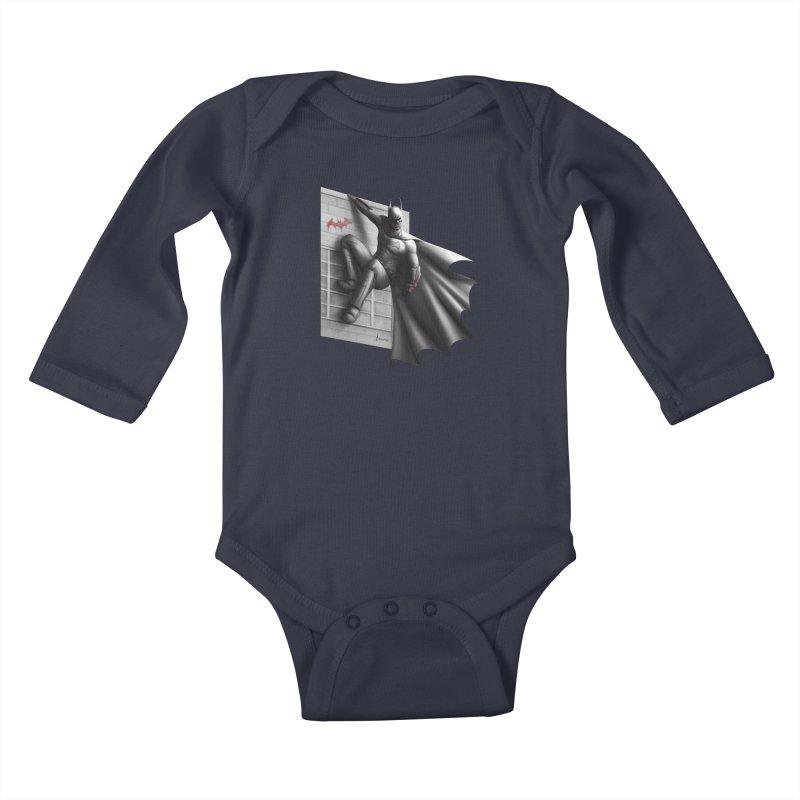Batman - 50 Shades of Arkham Kids Baby Longsleeve Bodysuit by Laurie's Artist Shop