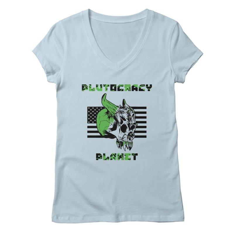 Plutocracy Planet (II) Women's V-Neck by Lava Bat's Artist Shop