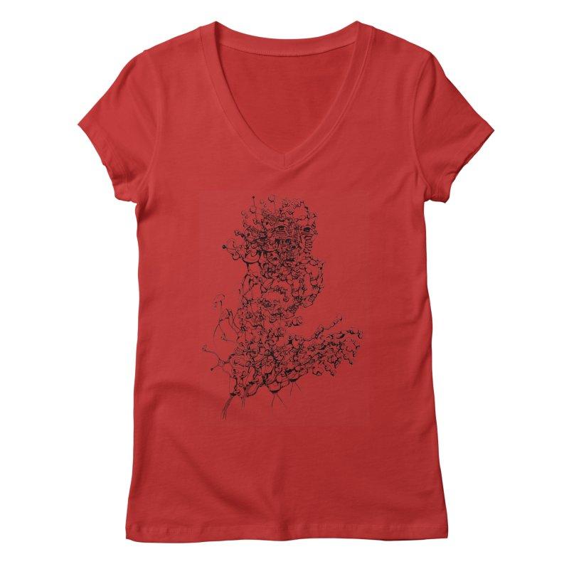 scan_T_blacknails Women's V-Neck by lavatrice's Artist Shop