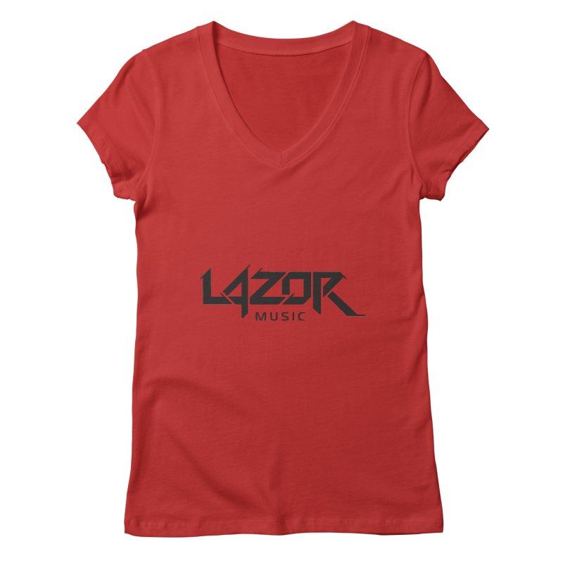 Lazor Music (Black Logo) Women's V-Neck by Lazor Music Merchandise