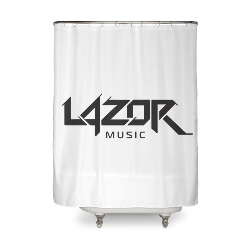 Lazor Music (Black Logo) Home Shower Curtain by Lazor Music Merchandise