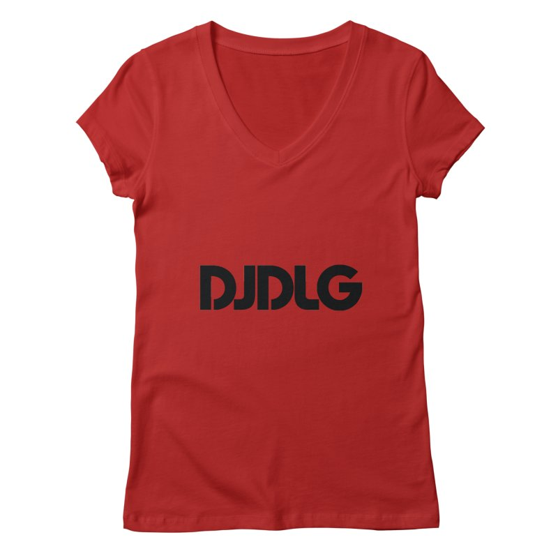 DJ DLG (Black Logo) Women's V-Neck by Lazor Music Merchandise
