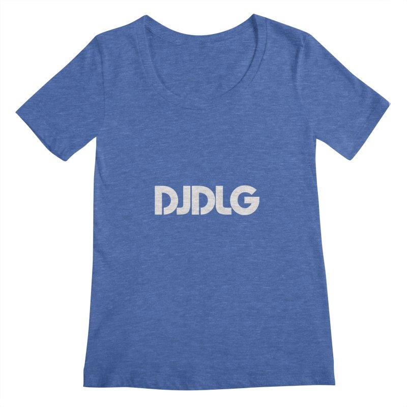 DJ DLG (White Logo) Women's Scoopneck by Lazor Music Merchandise
