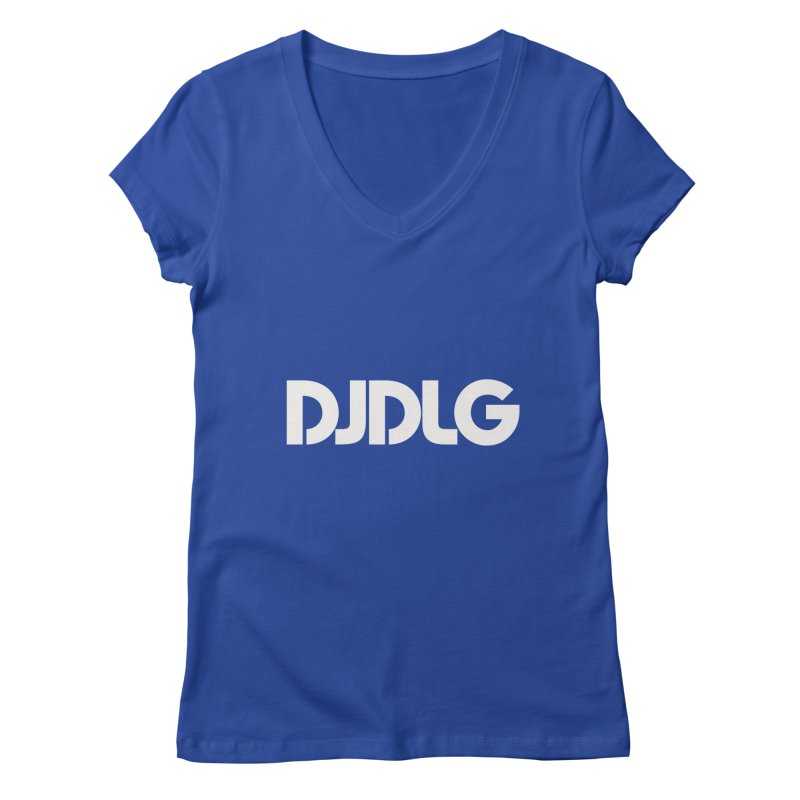 DJ DLG (White Logo) Women's V-Neck by Lazor Music Merchandise