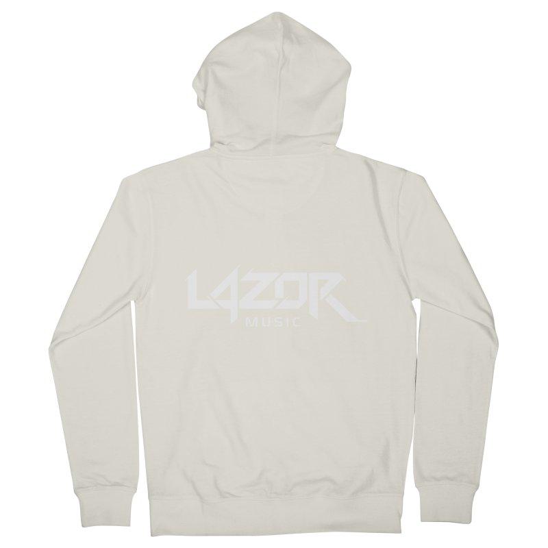 Lazor Music (White Logo) Men's Zip-Up Hoody by Lazor Music Merchandise
