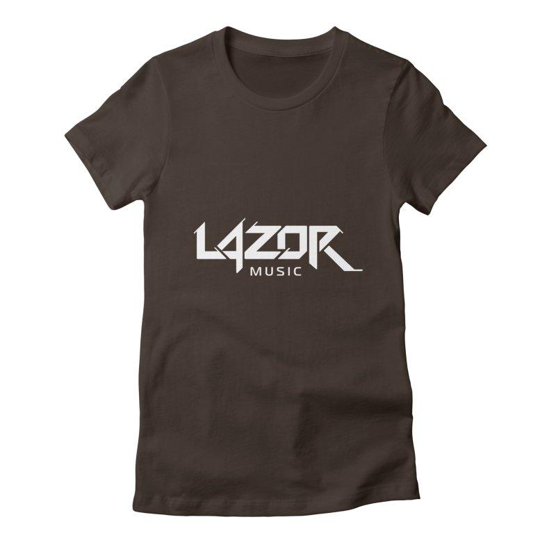 Lazor Music (White Logo) Women's Fitted T-Shirt by Lazor Music Merchandise