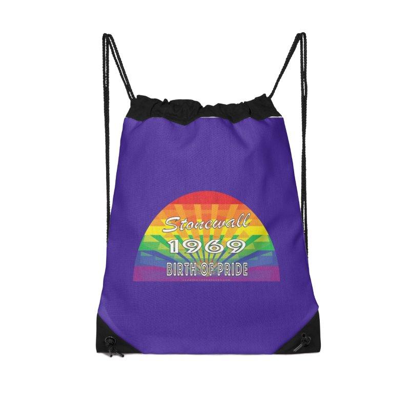 Stonewall 1969 Birth Of Pride Accessories Drawstring Bag Bag by Leading Artist Shop