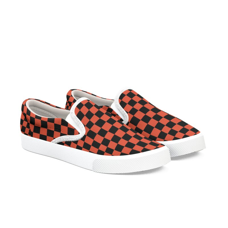 Men Women Checker Slip-One Shoes - Red n Black - Casual Women's Slip-On Shoes by Leading Artist Shop