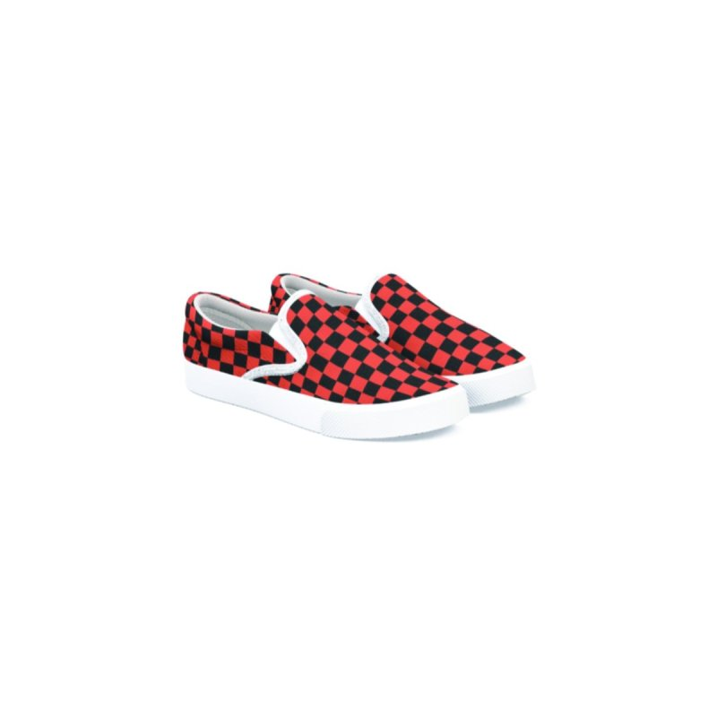 Men Women Checker Slip-One Shoes - Red n Black - Casual by Leading Artist Shop