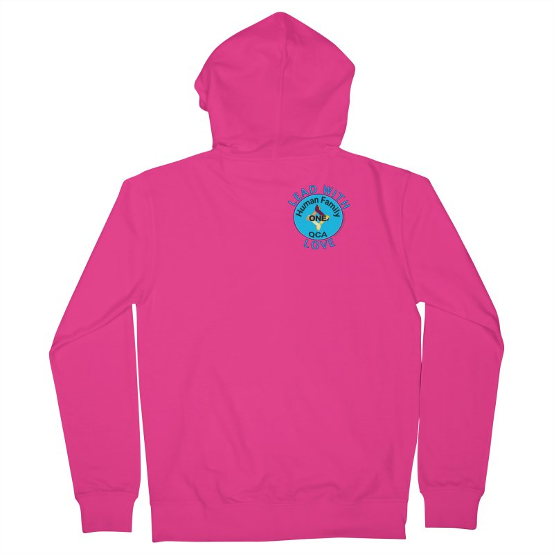 Lead With Love - One Human Family QCA Men's French Terry Zip-Up Hoody by Leading Artist Shop