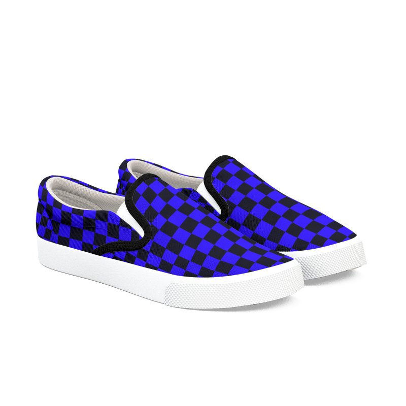 Blue Black Checker Canvas Shoes Women's Slip-On Shoes by Leading Artist Shop