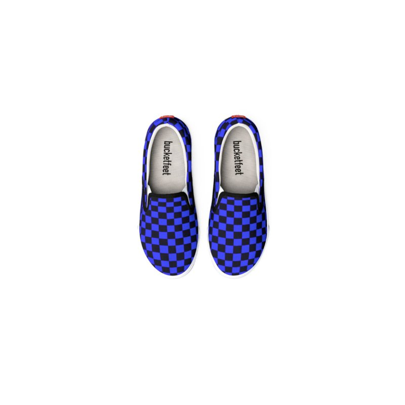 Blue Black Checker Canvas Shoes by Leading Artist Shop