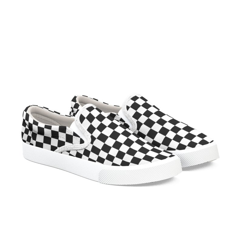 Black n White Checkered Slip-On Shoes Women's Slip-On Shoes by Leading Artist Shop