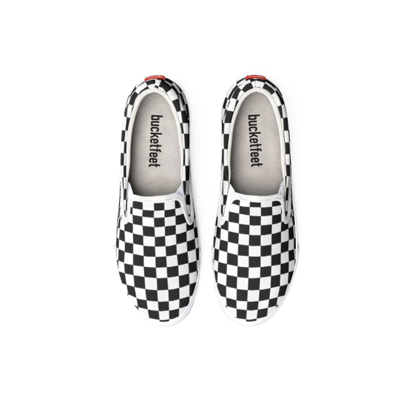 Black n White Checkered Slip-On Shoes by Leading Artist Shop