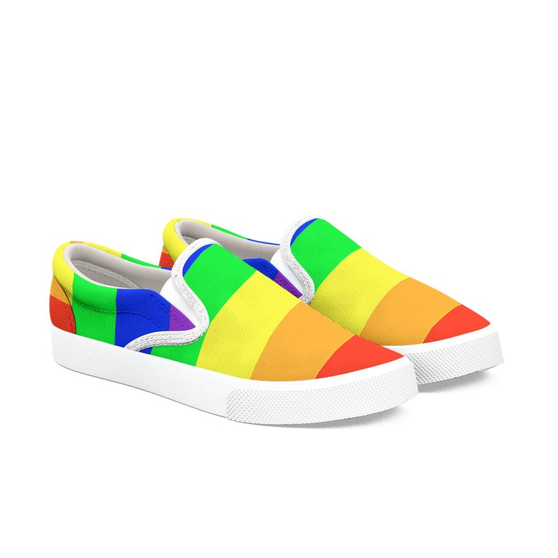 Rainbow Canvas Slip-On Shoes Women's Slip-On Shoes by Leading Artist Shop