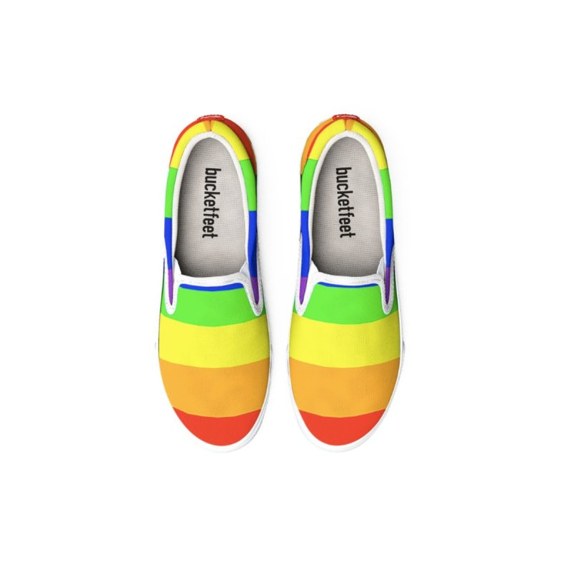 Rainbow Canvas Slip-On Shoes by Leading Artist Shop