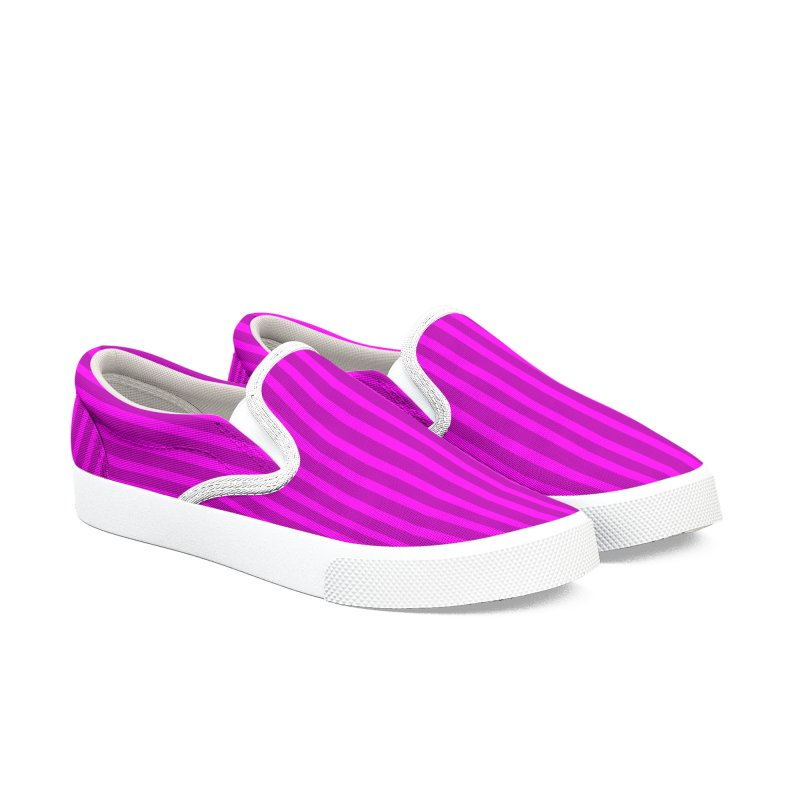 Pink Striped Canvas Slip-On Shoes Women's Slip-On Shoes by Leading Artist Shop