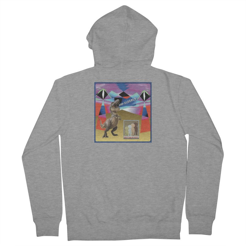 Stop Illegal Aliens Dinosaur Shirts Men's French Terry Zip-Up Hoody by Leading Artist Shop