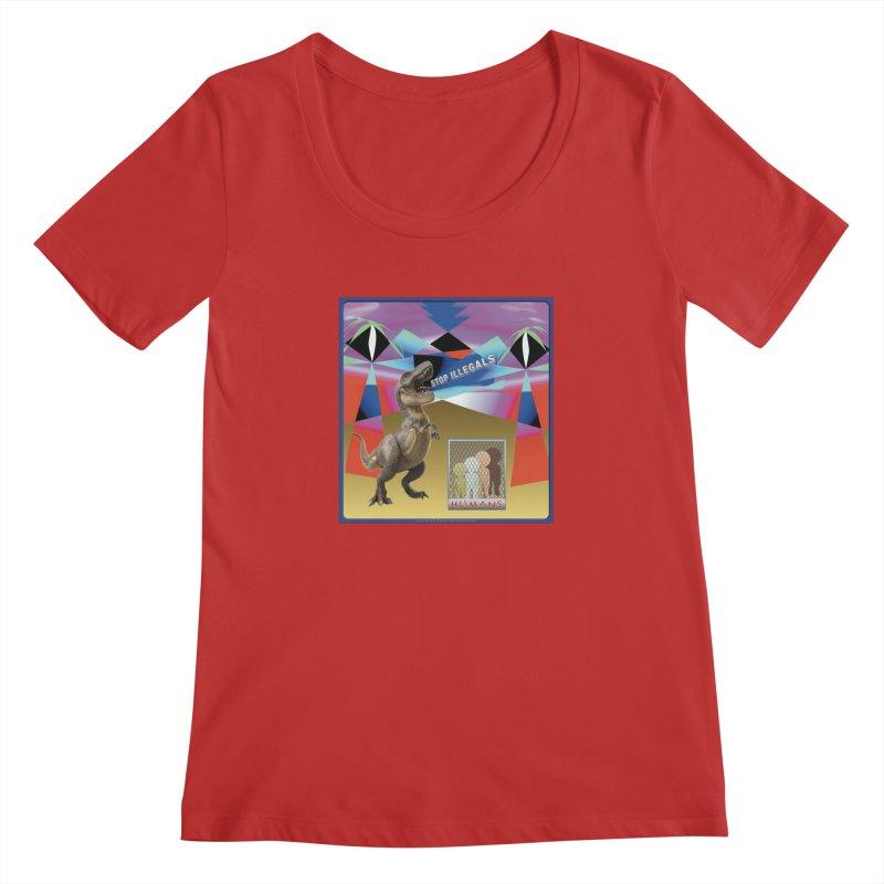 Stop Illegal Aliens Dinosaur Shirts Women's Regular Scoop Neck by Leading Artist Shop