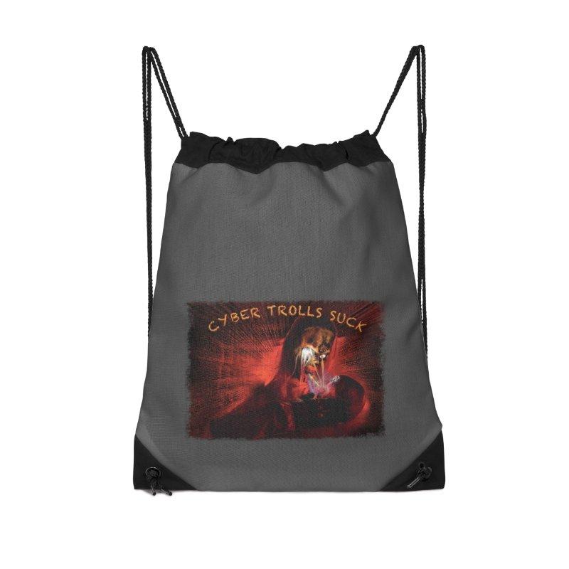 Cyber Trolls Suck - Shirts n Products Accessories Drawstring Bag Bag by Leading Artist Shop