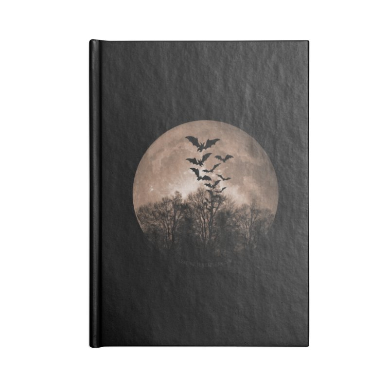 Halloween Moon With Bats Accessories Blank Journal Notebook by Leading Artist Shop