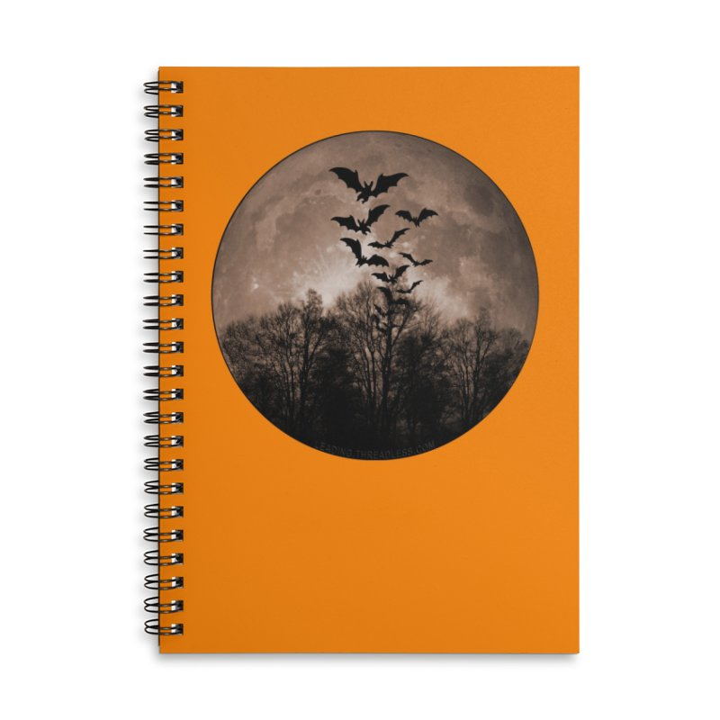 Halloween Moon With Bats Accessories Lined Spiral Notebook by Leading Artist Shop