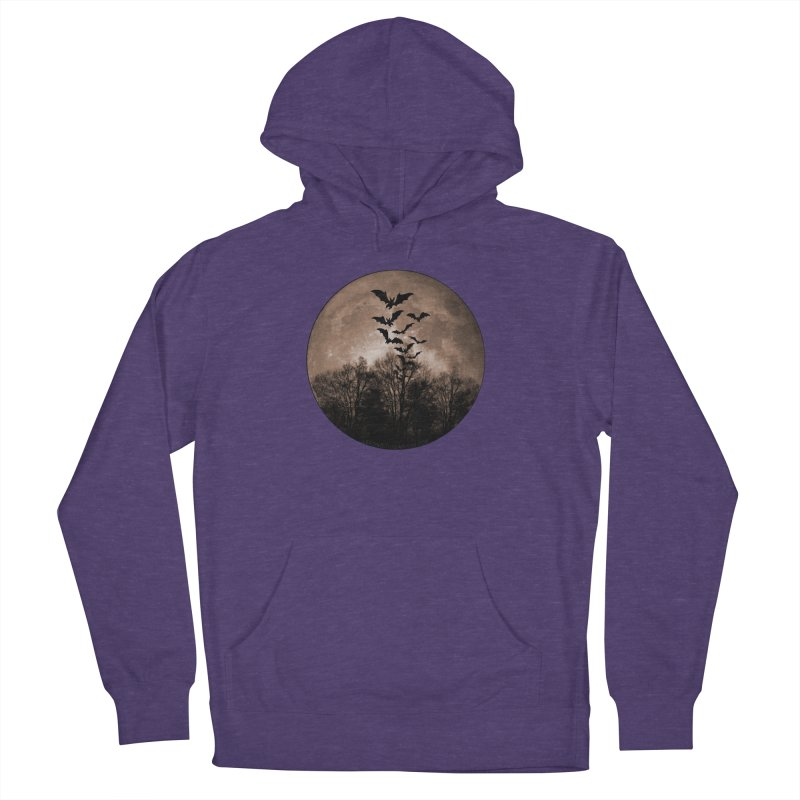 Halloween Moon With Bats Women's French Terry Pullover Hoody by Leading Artist Shop