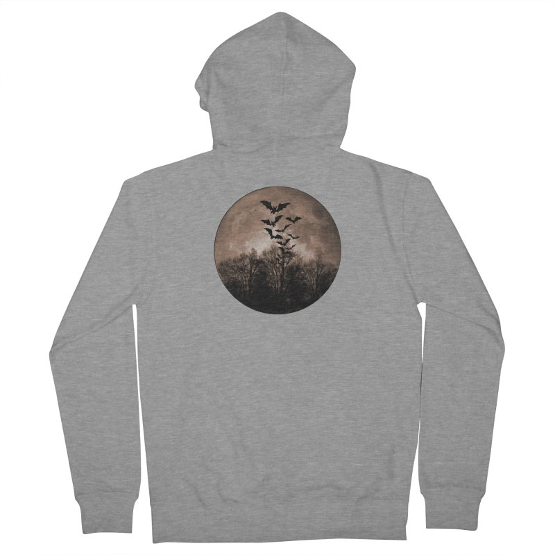 Halloween Moon With Bats Men's French Terry Zip-Up Hoody by Leading Artist Shop