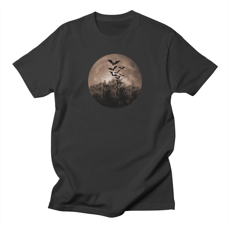 Halloween Moon With Bats Men's Regular T-Shirt by Leading Artist Shop