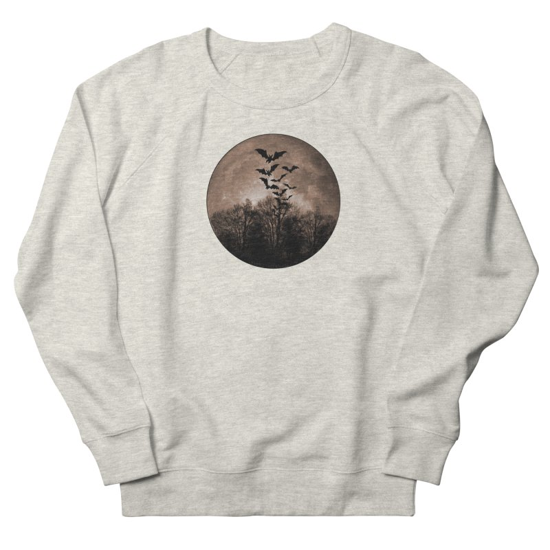 Halloween Moon With Bats Men's French Terry Sweatshirt by Leading Artist Shop