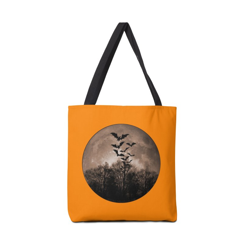 Halloween Moon With Bats Accessories Tote Bag Bag by Leading Artist Shop